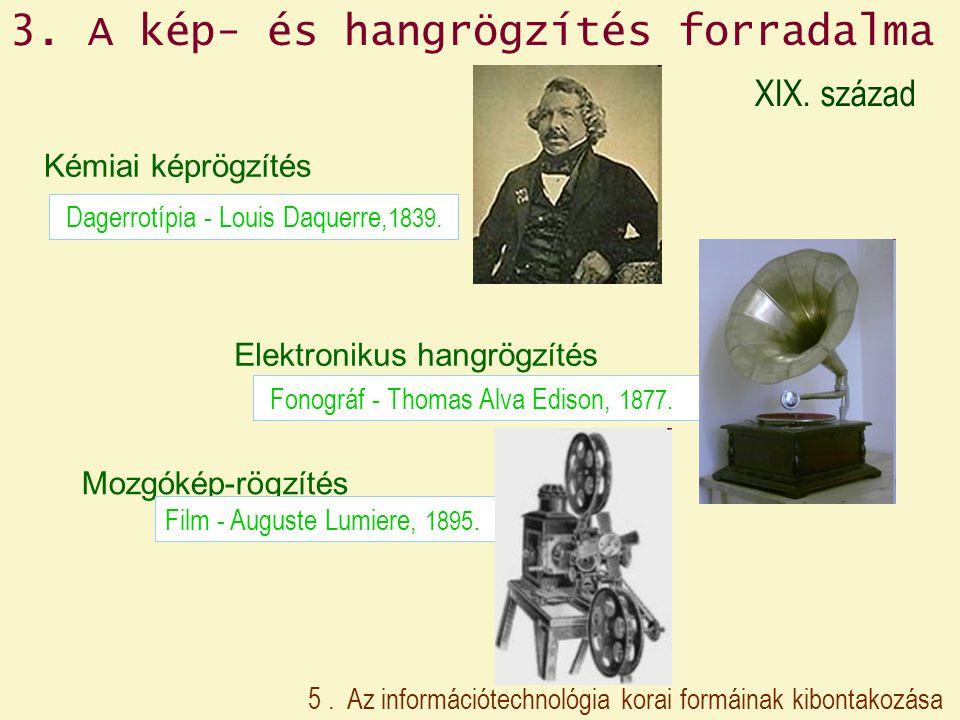 Kémiai képrögzítés Dagerrotípia - Louis Daquerre, 1839. Mozgókép-rögzítés Film - Auguste Lumiere, 1895. Elektronikus hangrögzítés Fonográf - Thomas Al
