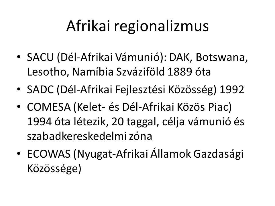 Afrikai regionalizmus SACU (Dél-Afrikai Vámunió): DAK, Botswana, Lesotho, Namíbia Szváziföld 1889 óta SADC (Dél-Afrikai Fejlesztési Közösség) 1992 COM