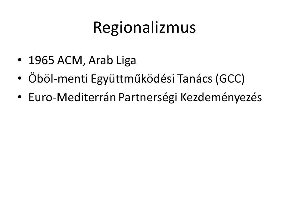 Regionalizmus 1965 ACM, Arab Liga Öböl-menti Együttműködési Tanács (GCC) Euro-Mediterrán Partnerségi Kezdeményezés