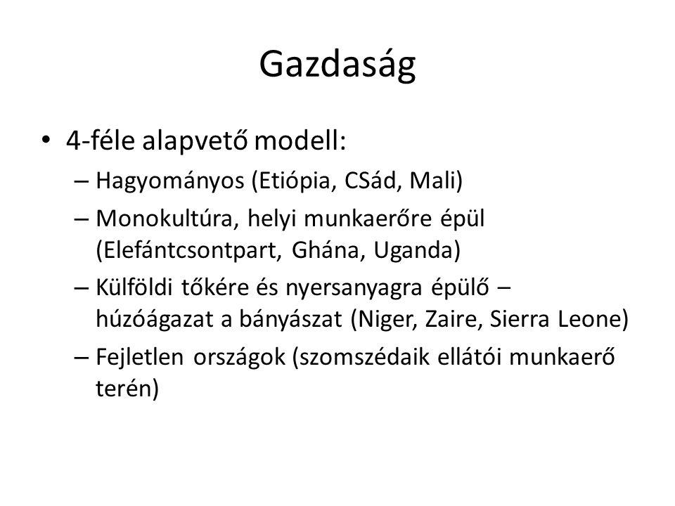 Gazdaság 4-féle alapvető modell: – Hagyományos (Etiópia, CSád, Mali) – Monokultúra, helyi munkaerőre épül (Elefántcsontpart, Ghána, Uganda) – Külföldi