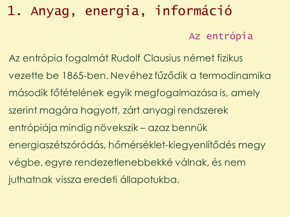 Az entrópia Az entrópia fogalmát Rudolf Clausius német fizikus vezette be 1865-ben.