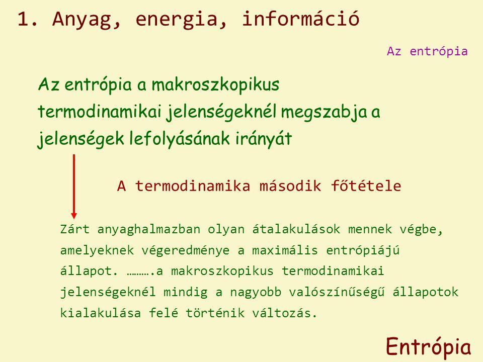 Az entrópia Entrópia A termodinamika második főtétele Zárt anyaghalmazban olyan átalakulások mennek végbe, amelyeknek végeredménye a maximális entrópiájú állapot.