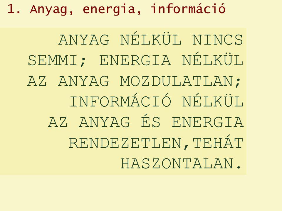 ANYAG NÉLKÜL NINCS SEMMI; ENERGIA NÉLKÜL AZ ANYAG MOZDULATLAN; INFORMÁCIÓ NÉLKÜL AZ ANYAG ÉS ENERGIA RENDEZETLEN,TEHÁT HASZONTALAN.