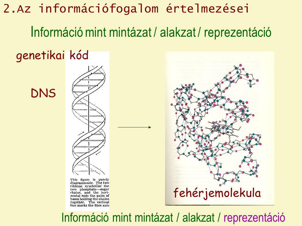 I nformáció mint mintázat / alakzat / reprezentáció DNS genetikai kód fehérjemolekula 2.Az információfogalom értelmezései Információ mint mintázat / alakzat / reprezentáció