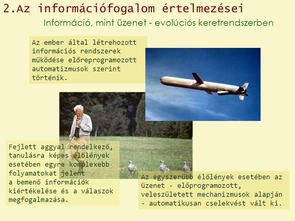 Információ, mint üzenet - evolúciós keretrendszerben Az ember által létrehozott információs rendszerek működése előreprogramozott automatizmusok szerint történik.
