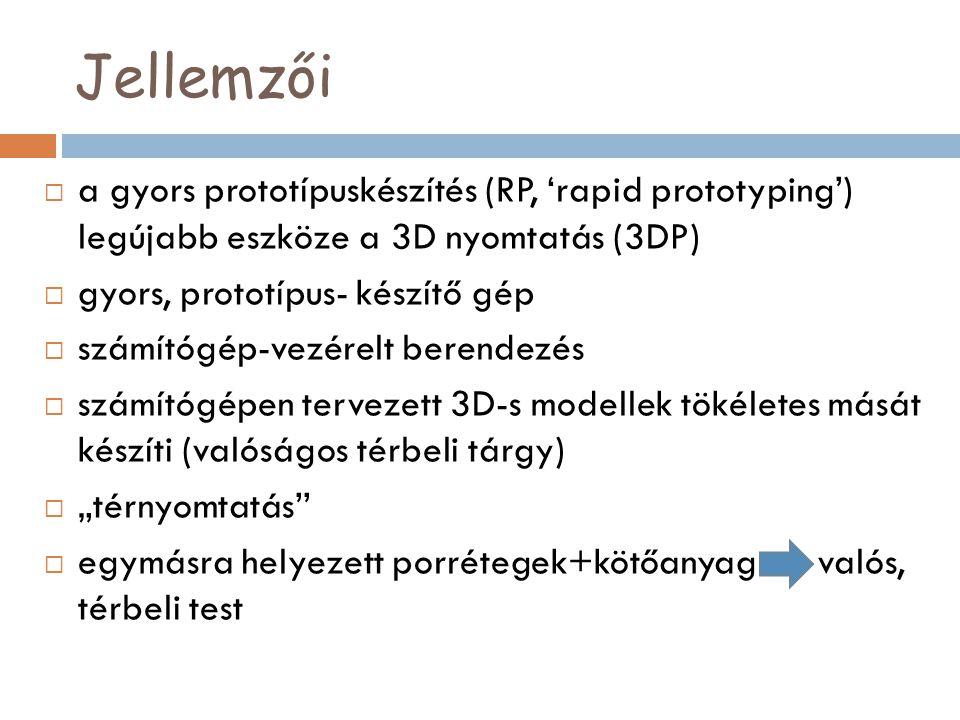 Jellemzői  a gyors prototípuskészítés (RP, 'rapid prototyping') legújabb eszköze a 3D nyomtatás (3DP)  gyors, prototípus- készítő gép  számítógép-v