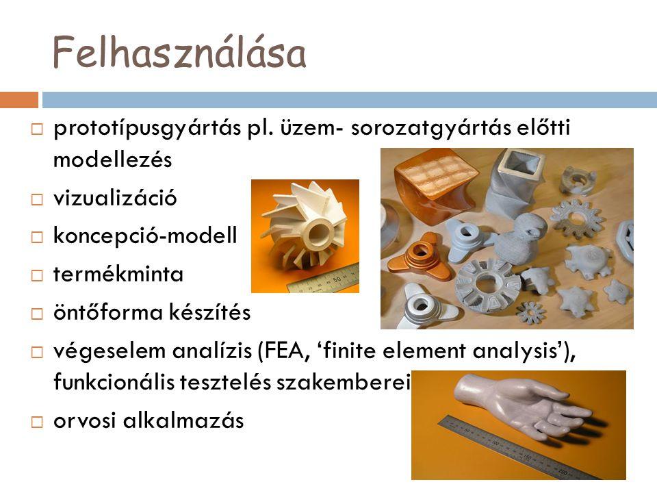 Felhasználása  prototípusgyártás pl. üzem- sorozatgyártás előtti modellezés  vizualizáció  koncepció-modell  termékminta  öntőforma készítés  vé