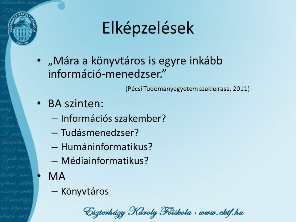 """Elképzelések """"Mára a könyvtáros is egyre inkább információ-menedzser."""" (Pécsi Tudományegyetem szakleírása, 2011) BA szinten: – Információs szakember?"""
