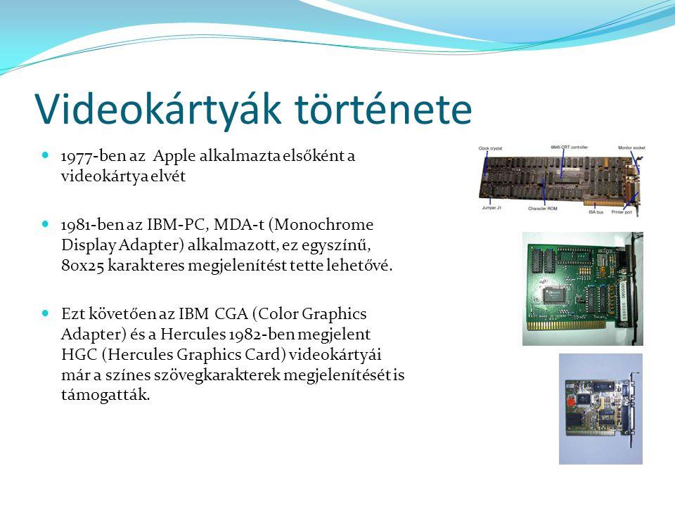 Videokártyák története 1977-ben az Apple alkalmazta elsőként a videokártya elvét 1981-ben az IBM-PC, MDA-t (Monochrome Display Adapter) alkalmazott, e