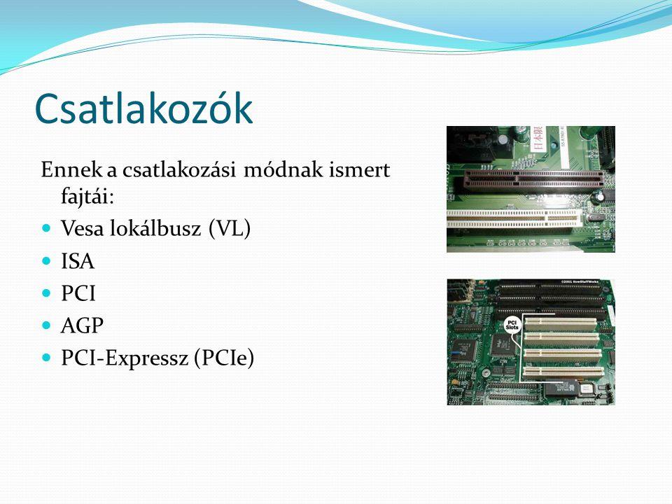 Csatlakozók Ennek a csatlakozási módnak ismert fajtái: Vesa lokálbusz (VL) ISA PCI AGP PCI-Expressz (PCIe)