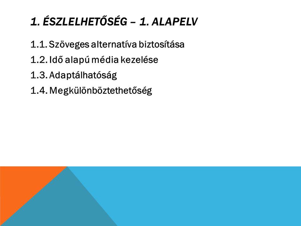 2.MŰKÖDTETHETŐSÉG – 2. ALAPELV 2.1. Billentyűzettel használható 2.2.