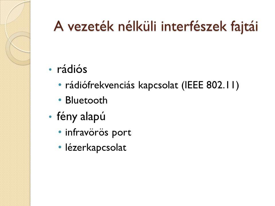 A vezeték nélküli interfészek fajtái rádiós rádiófrekvenciás kapcsolat (IEEE 802.11) Bluetooth fény alapú infravörös port lézerkapcsolat