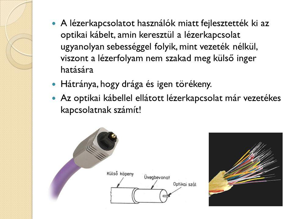 A lézerkapcsolatot használók miatt fejlesztették ki az optikai kábelt, amin keresztül a lézerkapcsolat ugyanolyan sebességgel folyik, mint vezeték nélkül, viszont a lézerfolyam nem szakad meg külső inger hatására Hátránya, hogy drága és igen törékeny.
