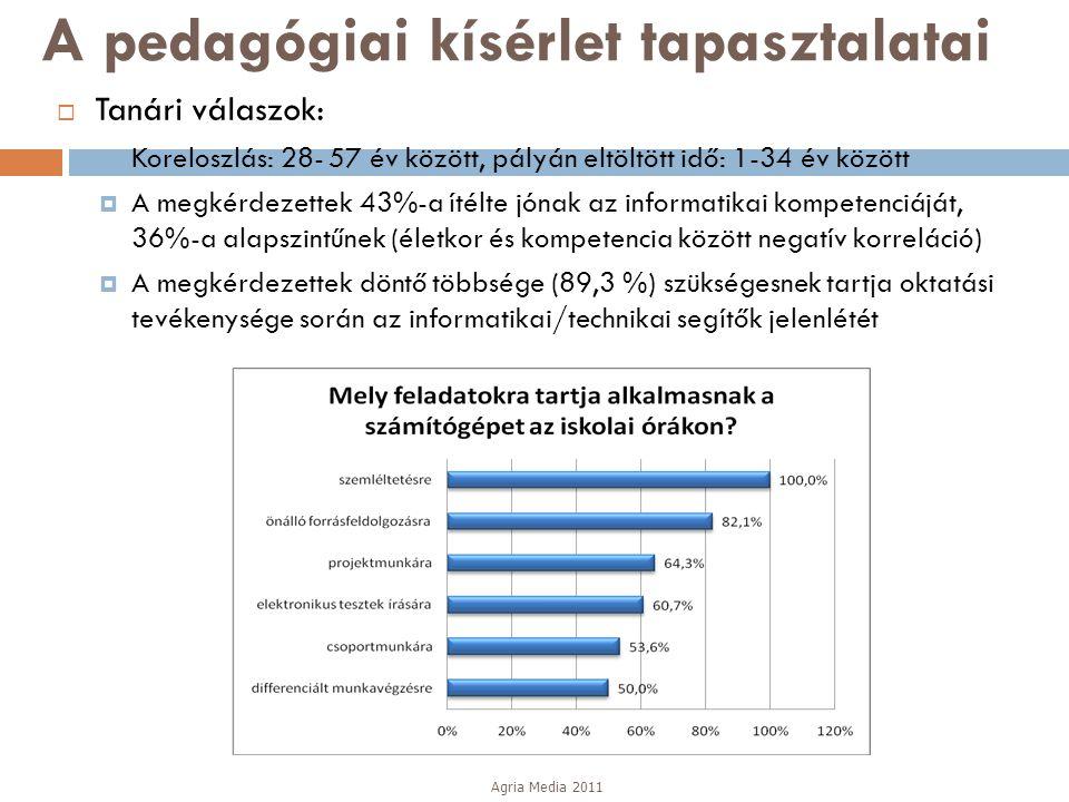 A pedagógiai kísérlet tapasztalatai  Tanári válaszok:  Koreloszlás: 28- 57 év között, pályán eltöltött idő: 1-34 év között  A megkérdezettek 43%-a