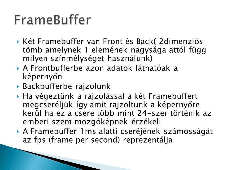  Két Framebuffer van Front és Back( 2dimenziós tömb amelynek 1 elemének nagysága attól függ milyen színmélységet használunk)  A Frontbufferbe azon a