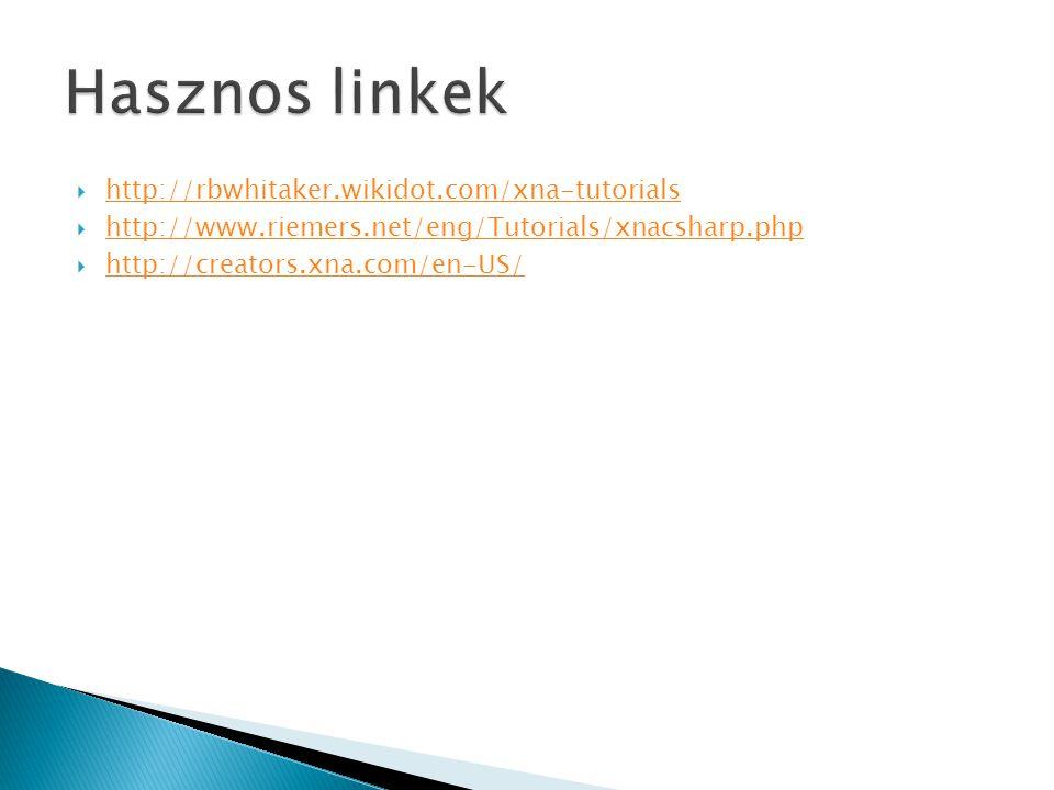  http://rbwhitaker.wikidot.com/xna-tutorials http://rbwhitaker.wikidot.com/xna-tutorials  http://www.riemers.net/eng/Tutorials/xnacsharp.php http://