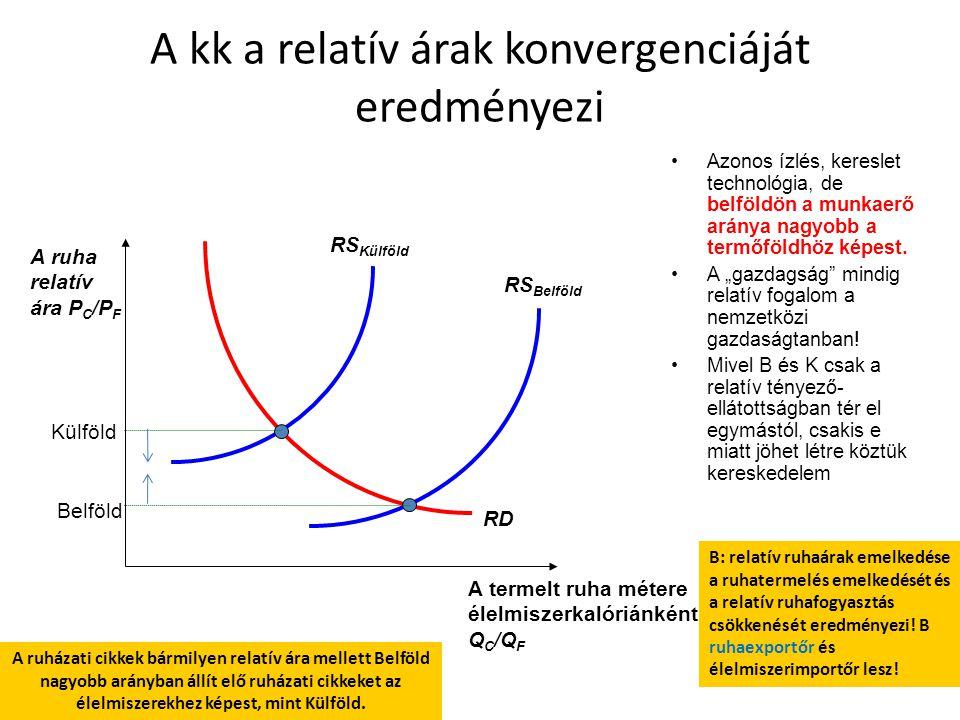 RS Belföld RS Külföld RD Külföld Belföld A kk a relatív árak konvergenciáját eredményezi Azonos ízlés, kereslet technológia, de belföldön a munkaerő a