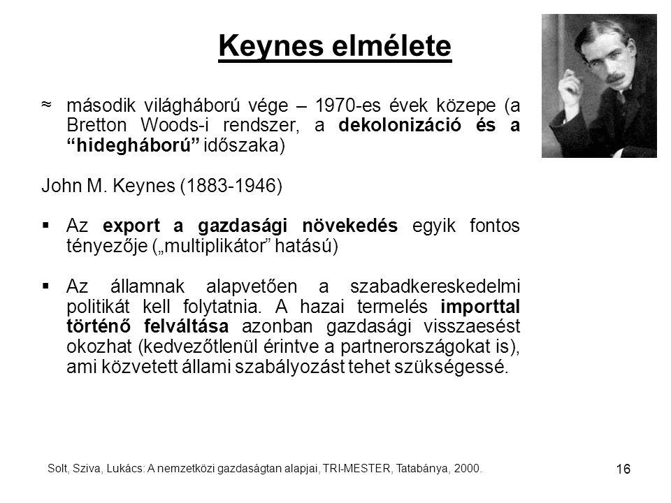"""Keynes elmélete ≈ második világháború vége – 1970-es évek közepe (a Bretton Woods-i rendszer, a dekolonizáció és a """"hidegháború"""" időszaka) John M. Key"""