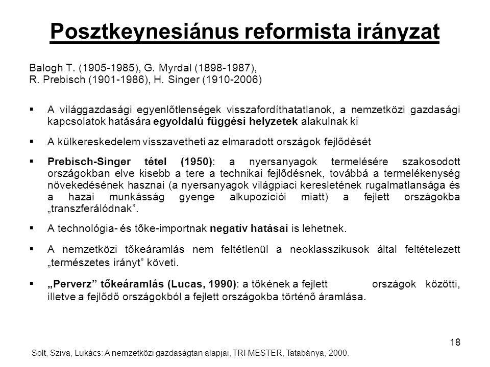 Posztkeynesiánus reformista irányzat Balogh T. (1905-1985), G. Myrdal (1898-1987), R. Prebisch (1901-1986), H. Singer (1910-2006)  A világgazdasági e