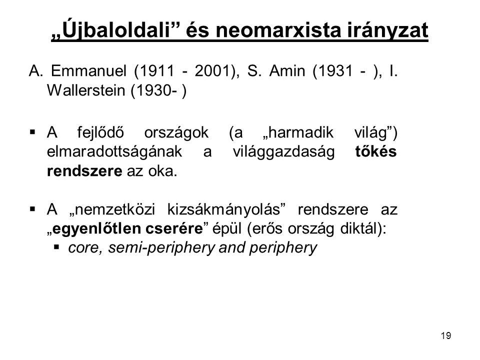 """""""Újbaloldali"""" és neomarxista irányzat A. Emmanuel (1911 - 2001), S. Amin (1931 - ), I. Wallerstein (1930- )  A fejlődő országok (a """"harmadik világ"""")"""