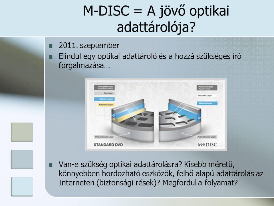 M-DISC = A jövő optikai adattárolója? 2011. szeptember Elindul egy optikai adattároló és a hozzá szükséges író forgalmazása… Van-e szükség optikai ada