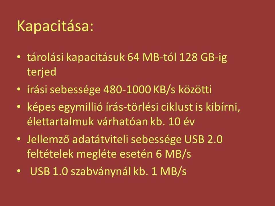 Kapacitása: tárolási kapacitásuk 64 MB-tól 128 GB-ig terjed írási sebessége 480-1000 KB/s közötti képes egymillió írás-törlési ciklust is kibírni, éle