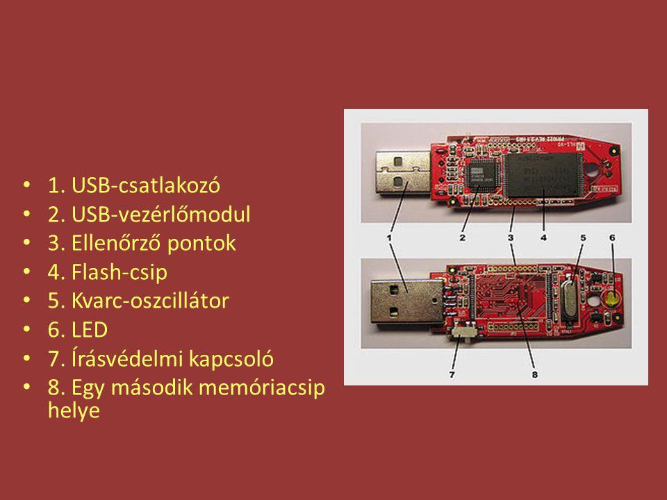 1. USB-csatlakozó 2. USB-vezérlőmodul 3. Ellenőrző pontok 4. Flash-csip 5. Kvarc-oszcillátor 6. LED 7. Írásvédelmi kapcsoló 8. Egy második memóriacsip
