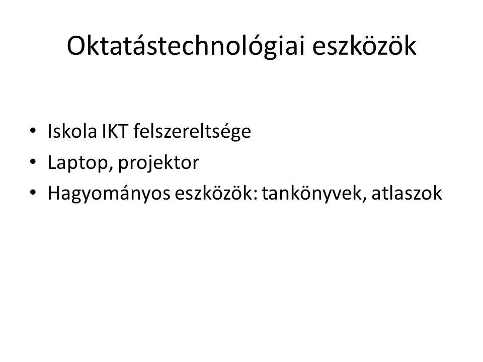 Oktatástechnológiai eszközök Iskola IKT felszereltsége Laptop, projektor Hagyományos eszközök: tankönyvek, atlaszok