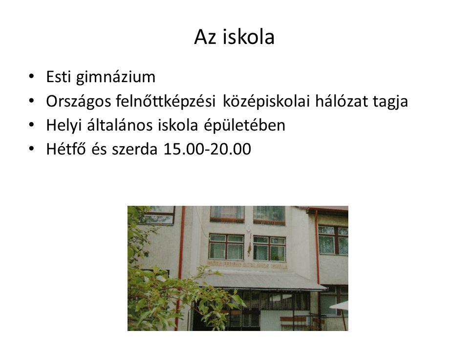 Az iskola Esti gimnázium Országos felnőttképzési középiskolai hálózat tagja Helyi általános iskola épületében Hétfő és szerda 15.00-20.00