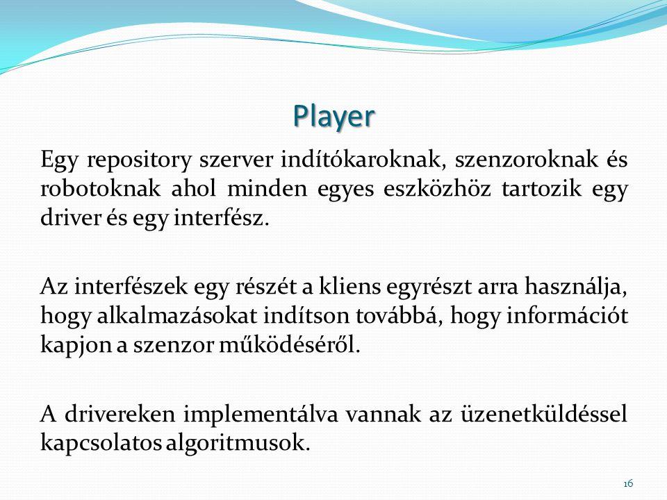 Player Egy repository szerver indítókaroknak, szenzoroknak és robotoknak ahol minden egyes eszközhöz tartozik egy driver és egy interfész.
