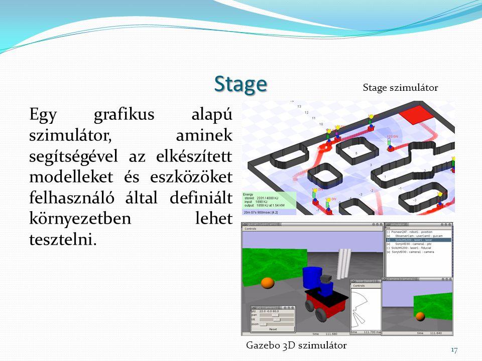 Stage Egy grafikus alapú szimulátor, aminek segítségével az elkészített modelleket és eszközöket felhasználó által definiált környezetben lehet teszte
