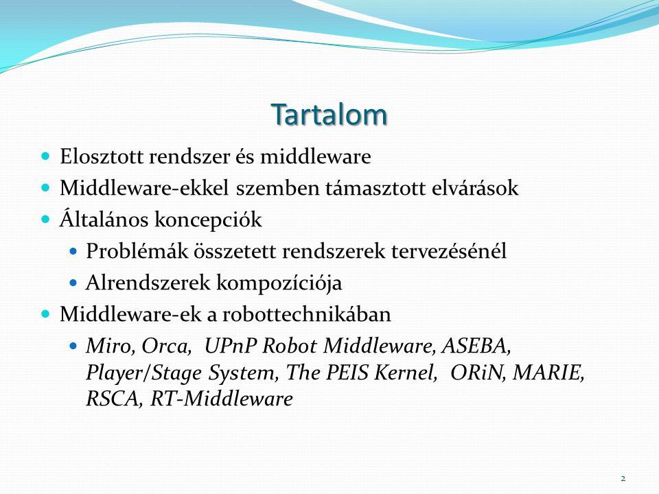 Tartalom Elosztott rendszer és middleware Middleware-ekkel szemben támasztott elvárások Általános koncepciók Problémák összetett rendszerek tervezésénél Alrendszerek kompozíciója Middleware-ek a robottechnikában Miro, Orca, UPnP Robot Middleware, ASEBA, Player/Stage System, The PEIS Kernel, ORiN, MARIE, RSCA, RT-Middleware 2