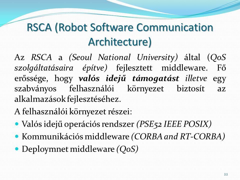 RSCA (Robot Software Communication Architecture) Az RSCA a (Seoul National University) által (QoS szolgáltatásaira építve) fejlesztett middleware. Fő