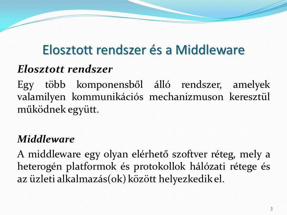 Elosztott rendszer és a Middleware Elosztott rendszer Egy több komponensből álló rendszer, amelyek valamilyen kommunikációs mechanizmuson keresztül működnek együtt.