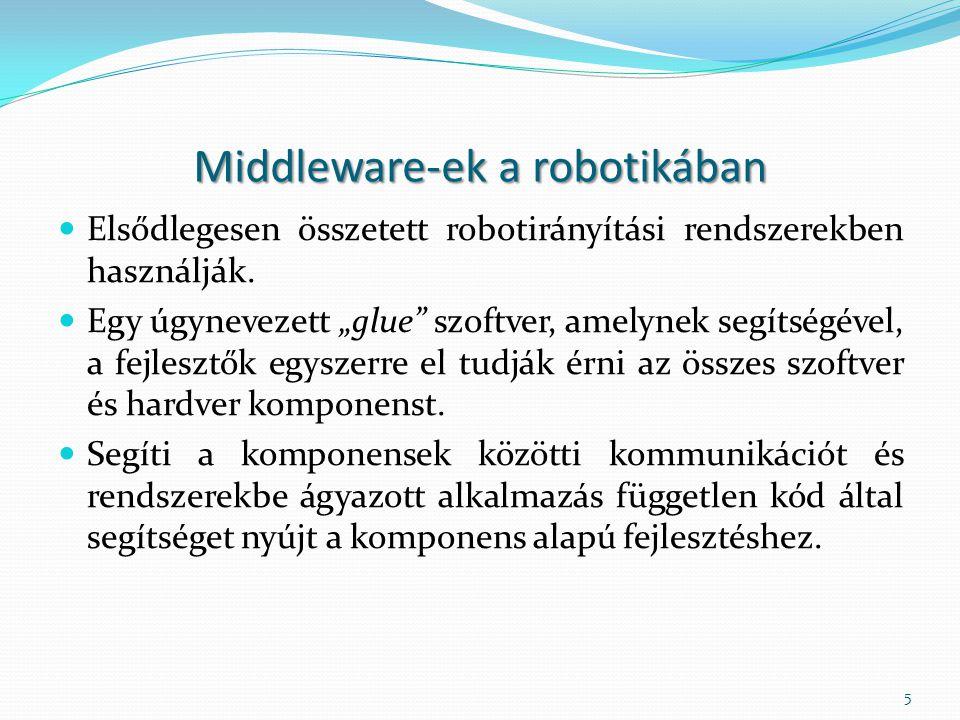 """Middleware-ek a robotikában Elsődlegesen összetett robotirányítási rendszerekben használják. Egy úgynevezett """"glue"""" szoftver, amelynek segítségével, a"""