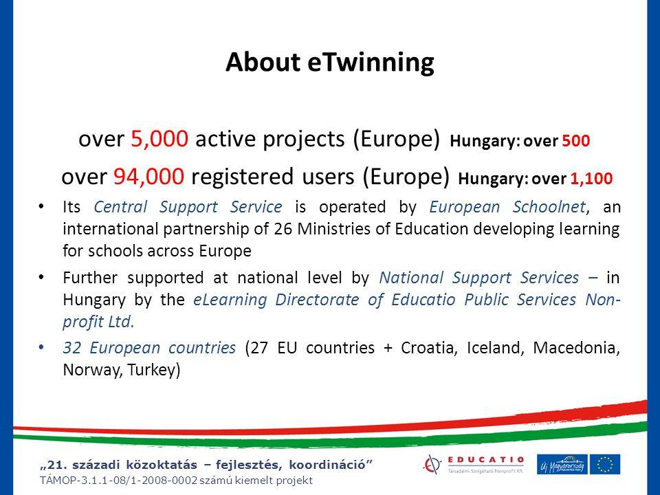 """""""21. századi közoktatás – fejlesztés, koordináció"""" TÁMOP-3.1.1-08/1-2008-0002 számú kiemelt projekt About eTwinning over 5,000 active projects (Europe"""