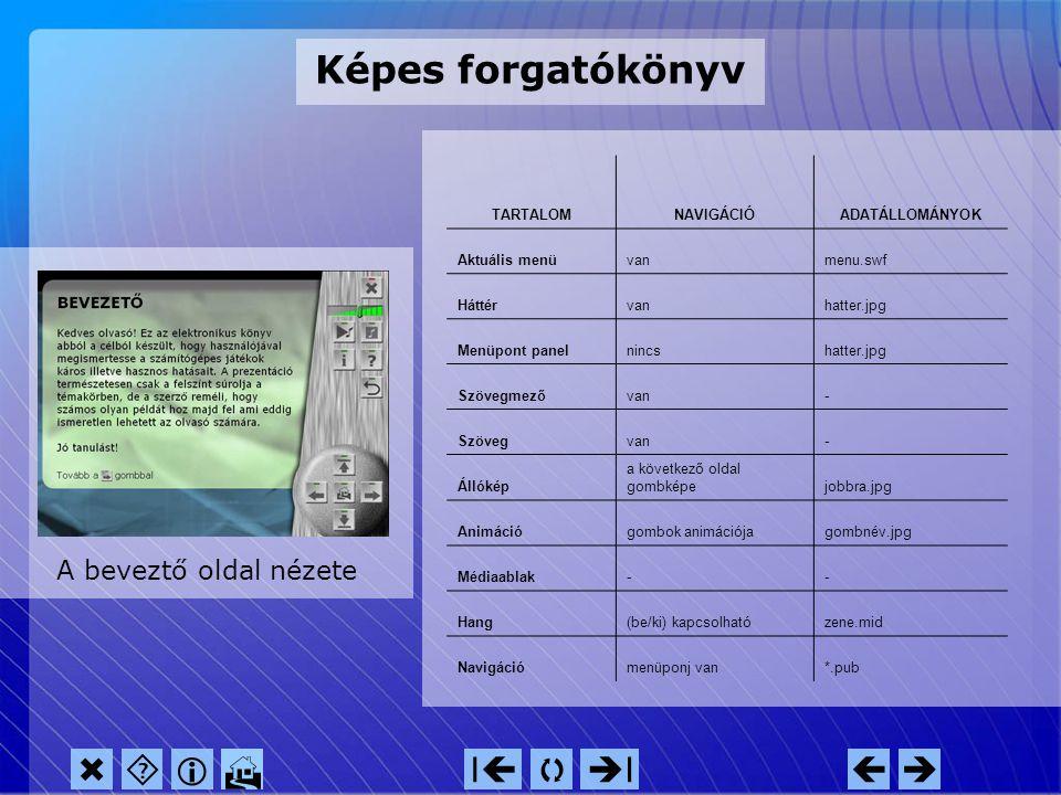"""A """"bevezető"""" oldal képernyőterve navigációs menü hangszabályozás egyéb gombok főablak      IIII"""