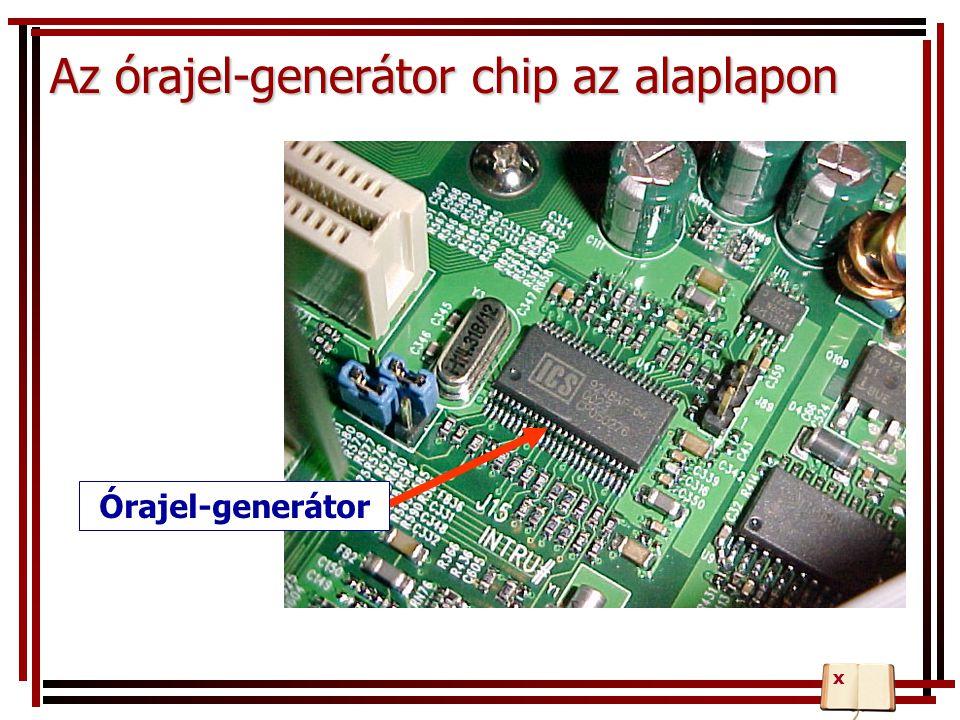 Az órajel-generátor chip az alaplapon Órajel-generátor x