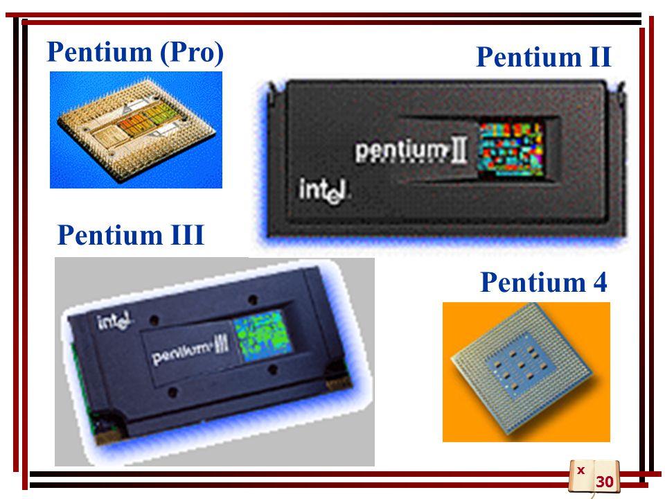 Pentium II Pentium (Pro) Pentium III Pentium 4 30 x