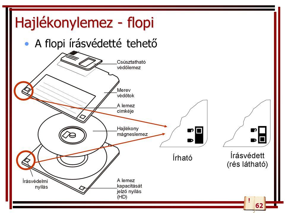 Hajlékonylemez - flopi A flopi írásvédetté tehető 62 !