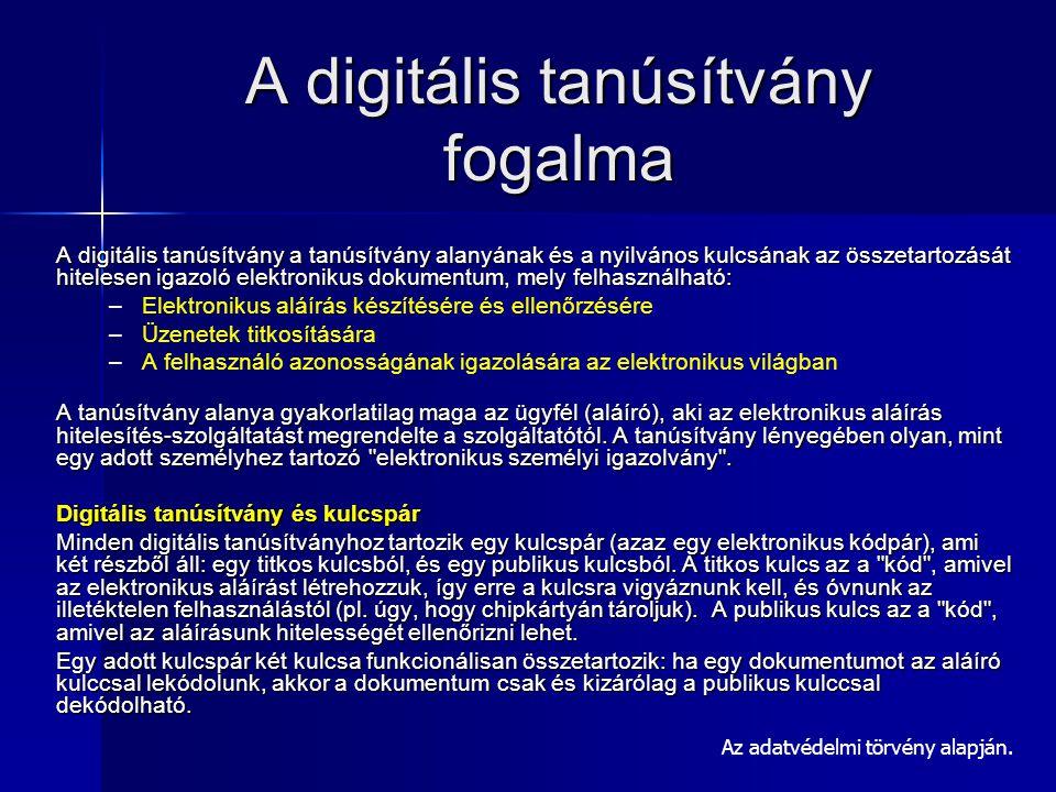 Elektronikus dokumentum fajtái Az elektronikus dokumentum: elektronikus eszköz útján értelmezhető adat, mely elektronikus aláírással van ellátva.( pl.