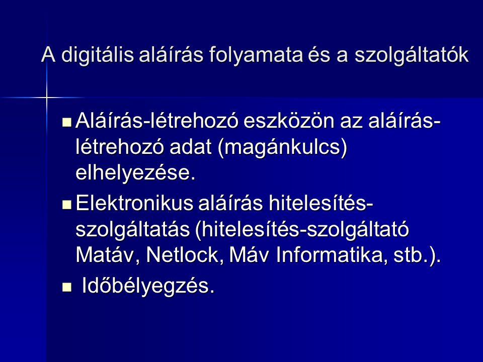 A digitális tanúsítvány fogalma A digitális tanúsítvány a tanúsítvány alanyának és a nyilvános kulcsának az összetartozását hitelesen igazoló elektronikus dokumentum, mely felhasználható: – –Elektronikus aláírás készítésére és ellenőrzésére – –Üzenetek titkosítására – –A felhasználó azonosságának igazolására az elektronikus világban A tanúsítvány alanya gyakorlatilag maga az ügyfél (aláíró), aki az elektronikus aláírás hitelesítés-szolgáltatást megrendelte a szolgáltatótól.
