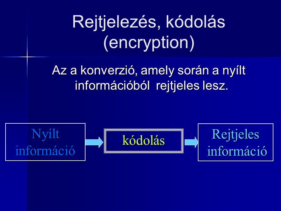 A rejtjelező algoritmus Olyan matematikai apparátus, amely egy tetszőleges, nyílt információhalmazból úgy állít elő egy kódoltat, hogy abból az eredeti nyílt adathalmaz visszanyerhető.