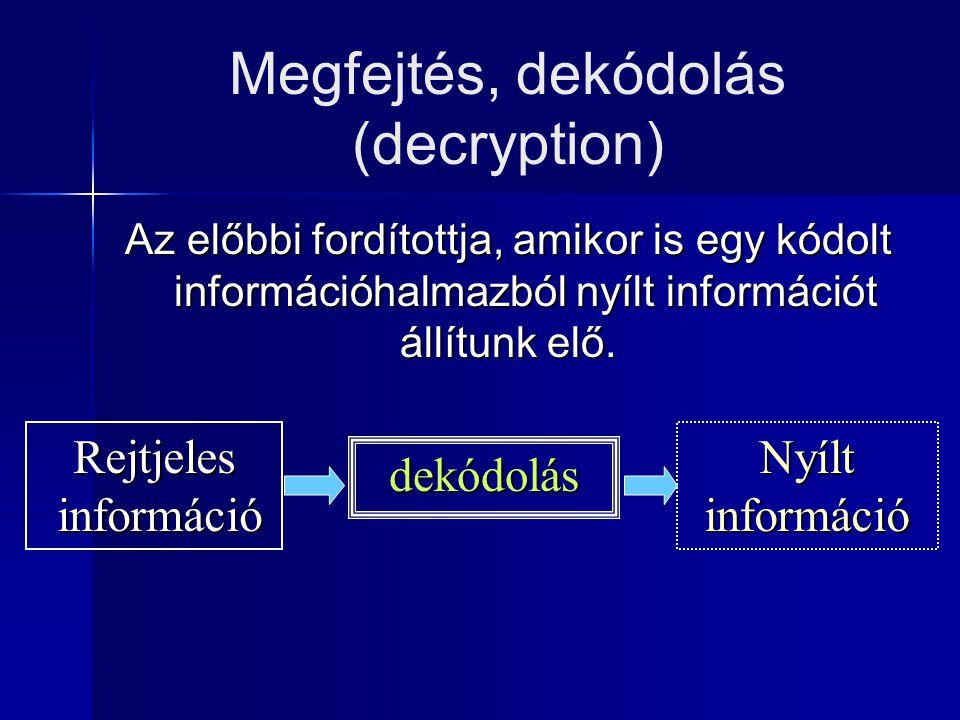 Rejtjelezés, kódolás (encryption) Az a konverzió, amely során a nyílt információból rejtjeles lesz. Nyílt információ kódolás Rejtjeles információ info