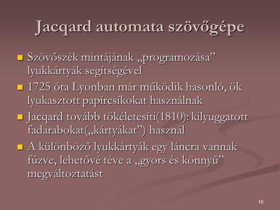 """10 Jacqard automata szövőgépe Szövőszék mintájának """"programozása lyukkártyák segítségével Szövőszék mintájának """"programozása lyukkártyák segítségével 1725 óta Lyonban már működik hasonló, ök lyukasztott papírcsíkokat használnak 1725 óta Lyonban már működik hasonló, ök lyukasztott papírcsíkokat használnak Jacqard tovább tökéletesíti(1810): kilyuggatott fadarabokat(""""kártyákat ) használ Jacqard tovább tökéletesíti(1810): kilyuggatott fadarabokat(""""kártyákat ) használ A különböző lyukkártyák egy láncra vannak fűzve, lehetővé téve a """"gyors és könnyű megváltoztatást A különböző lyukkártyák egy láncra vannak fűzve, lehetővé téve a """"gyors és könnyű megváltoztatást"""