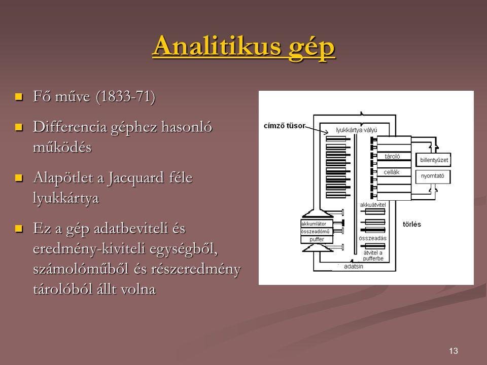 13 Analitikus gép Analitikus gép Fő műve (1833-71) Fő műve (1833-71) Differencia géphez hasonló működés Differencia géphez hasonló működés Alapötlet a Jacquard féle lyukkártya Alapötlet a Jacquard féle lyukkártya Ez a gép adatbeviteli és eredmény-kiviteli egységből, számolóműből és részeredmény tárolóból állt volna Ez a gép adatbeviteli és eredmény-kiviteli egységből, számolóműből és részeredmény tárolóból állt volna