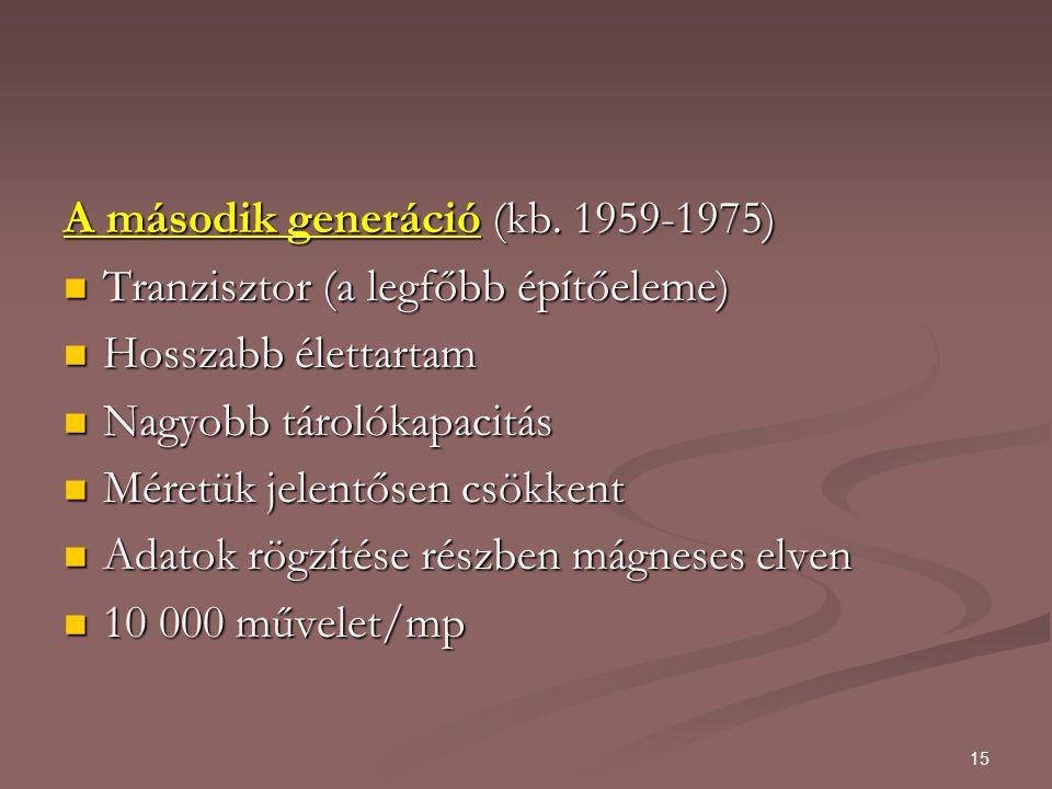 15 A második generáció (kb.