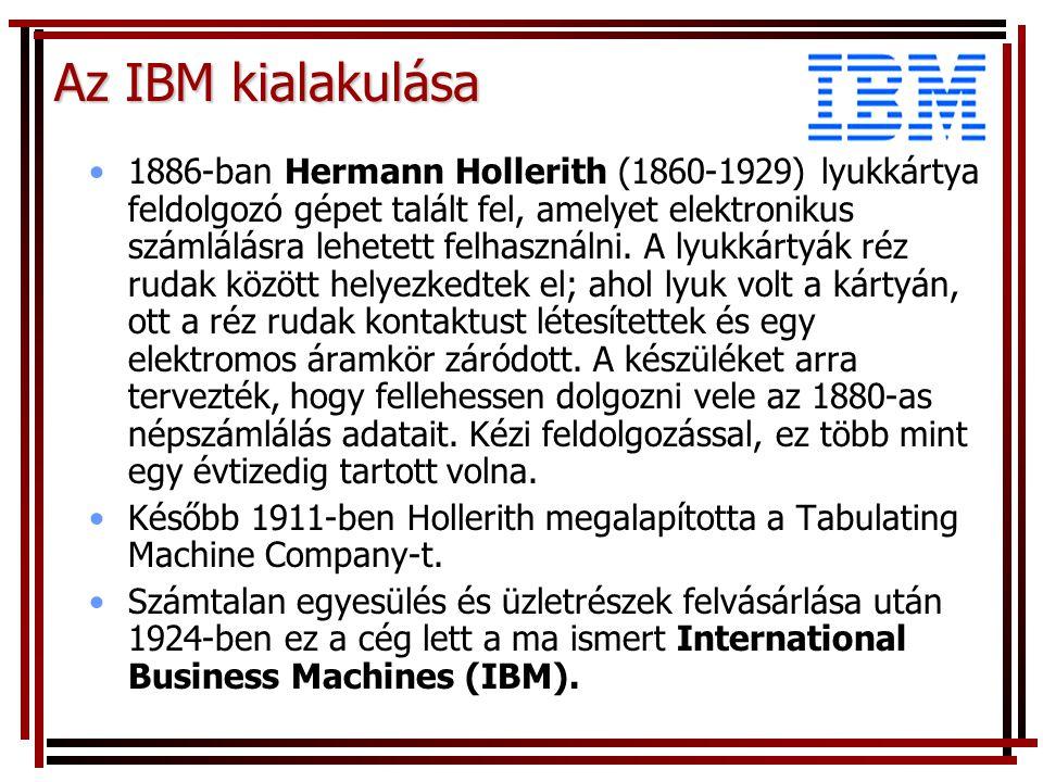 Az IBM kialakulása 1886-ban Hermann Hollerith (1860-1929) lyukkártya feldolgozó gépet talált fel, amelyet elektronikus számlálásra lehetett felhasználni.