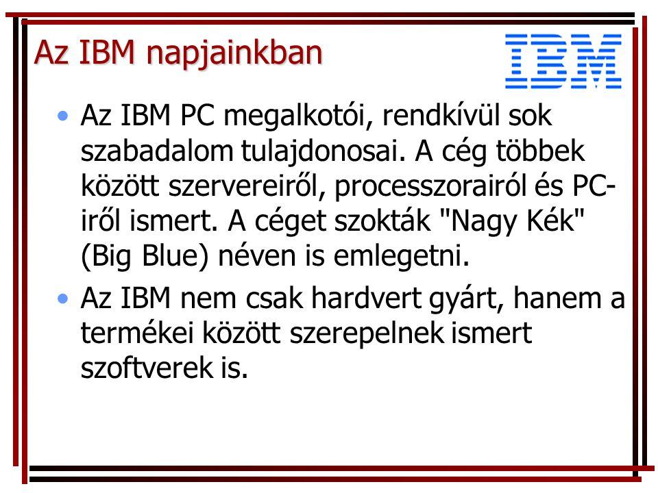 Az IBM napjainkban Az IBM PC megalkotói, rendkívül sok szabadalom tulajdonosai.