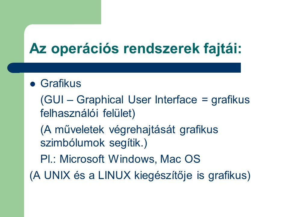 Az operációs rendszerek fajtái: Grafikus (GUI – Graphical User Interface = grafikus felhasználói felület) (A műveletek végrehajtását grafikus szimbólu